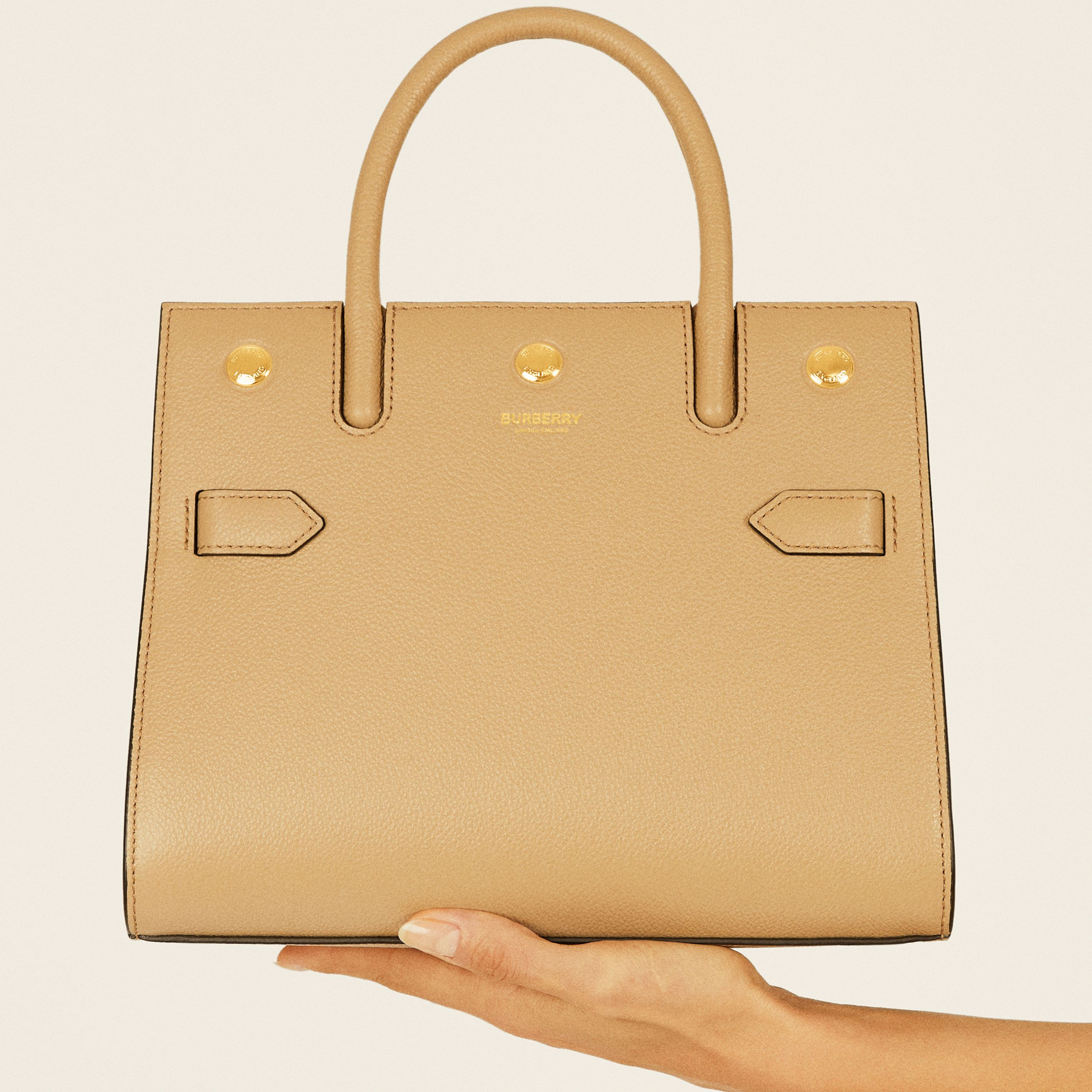 Mini Leather Two-handle Title Bag in Light Beige - Women | Burberry - 2