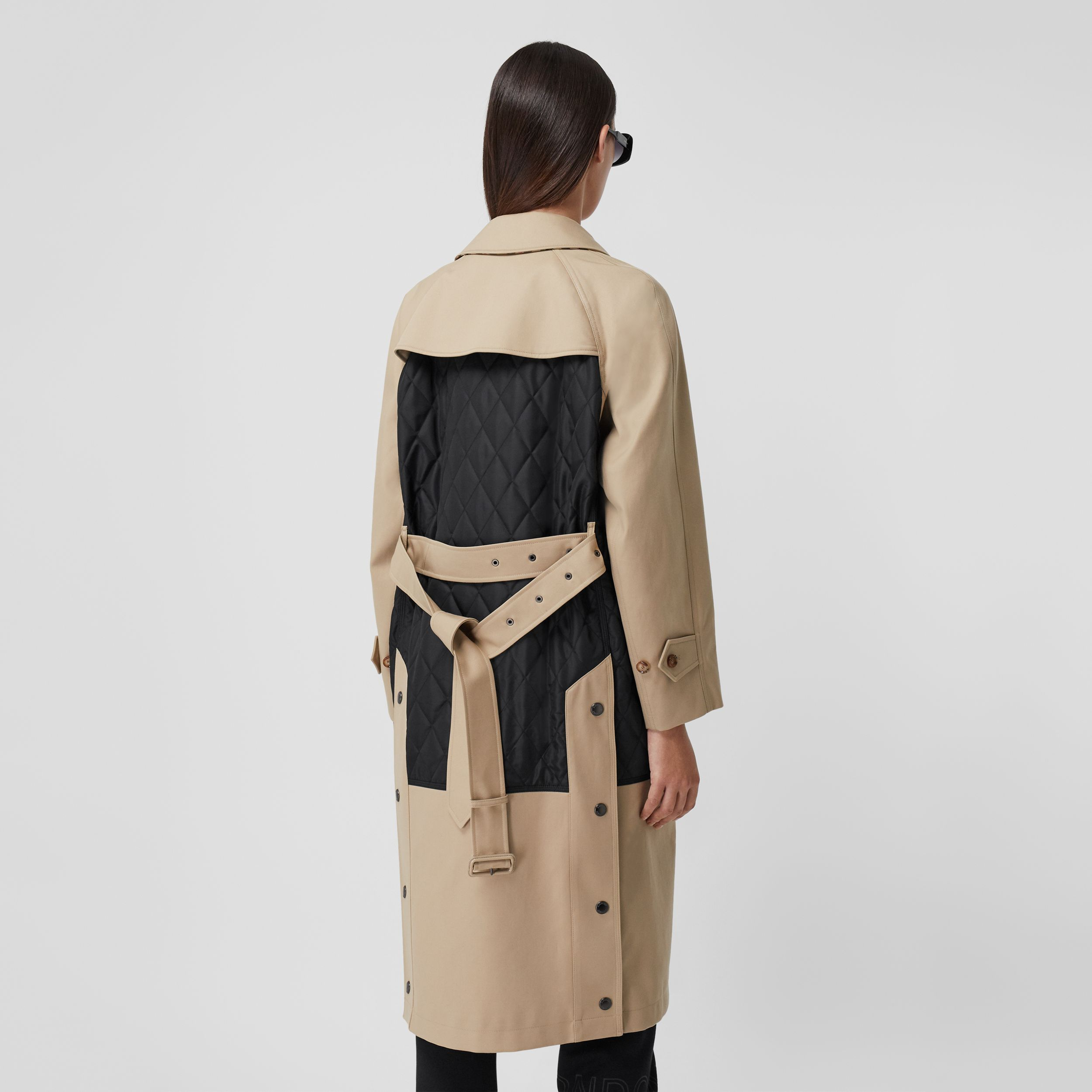 Diamond Quilted Panel Cotton Gabardine Car Coat in Honey - Women | Burberry - 3