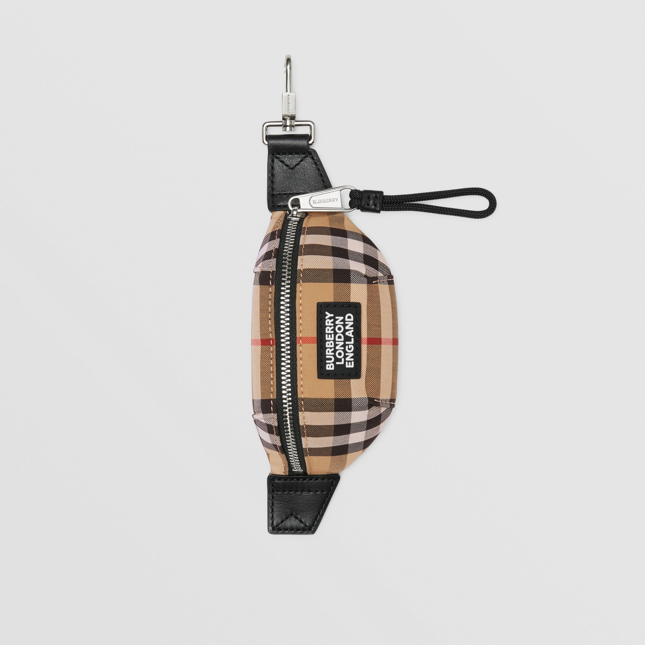 Vintage Check and Leather Bum Bag Charm in Archive Beige | Burberry United Kingdom - 1
