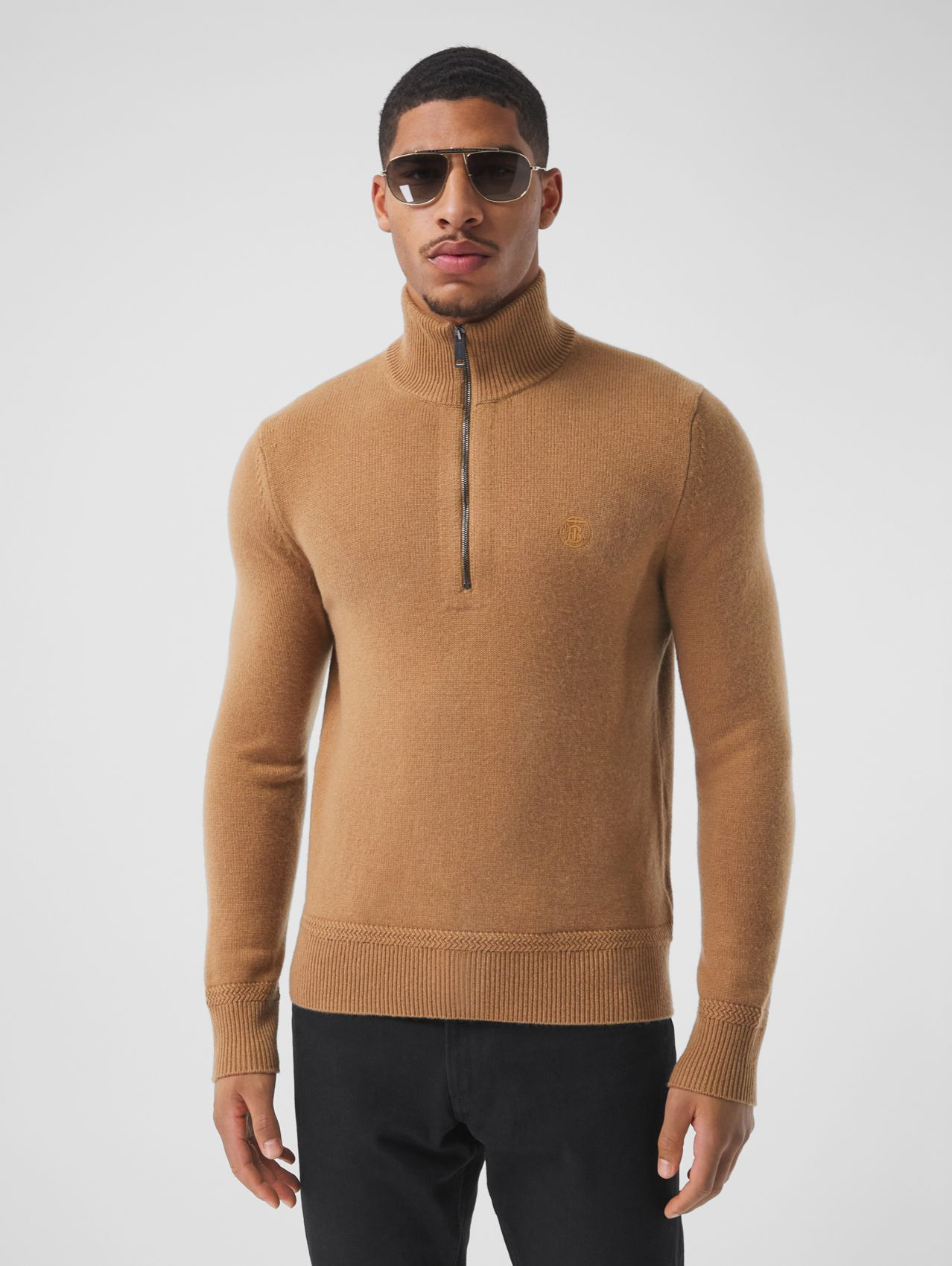 Monogram Motif Cashmere Funnel Neck Sweater in Camel