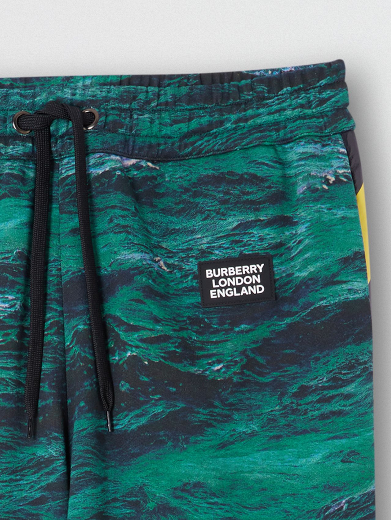 Tape Detail Sea Print Cotton Trackpants