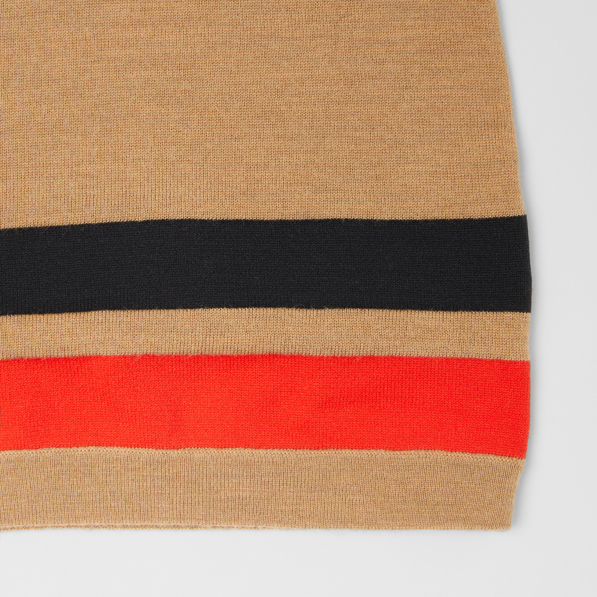 Stripe Detail Merino Wool Hood in Warm Camel | Burberry Australia - 4