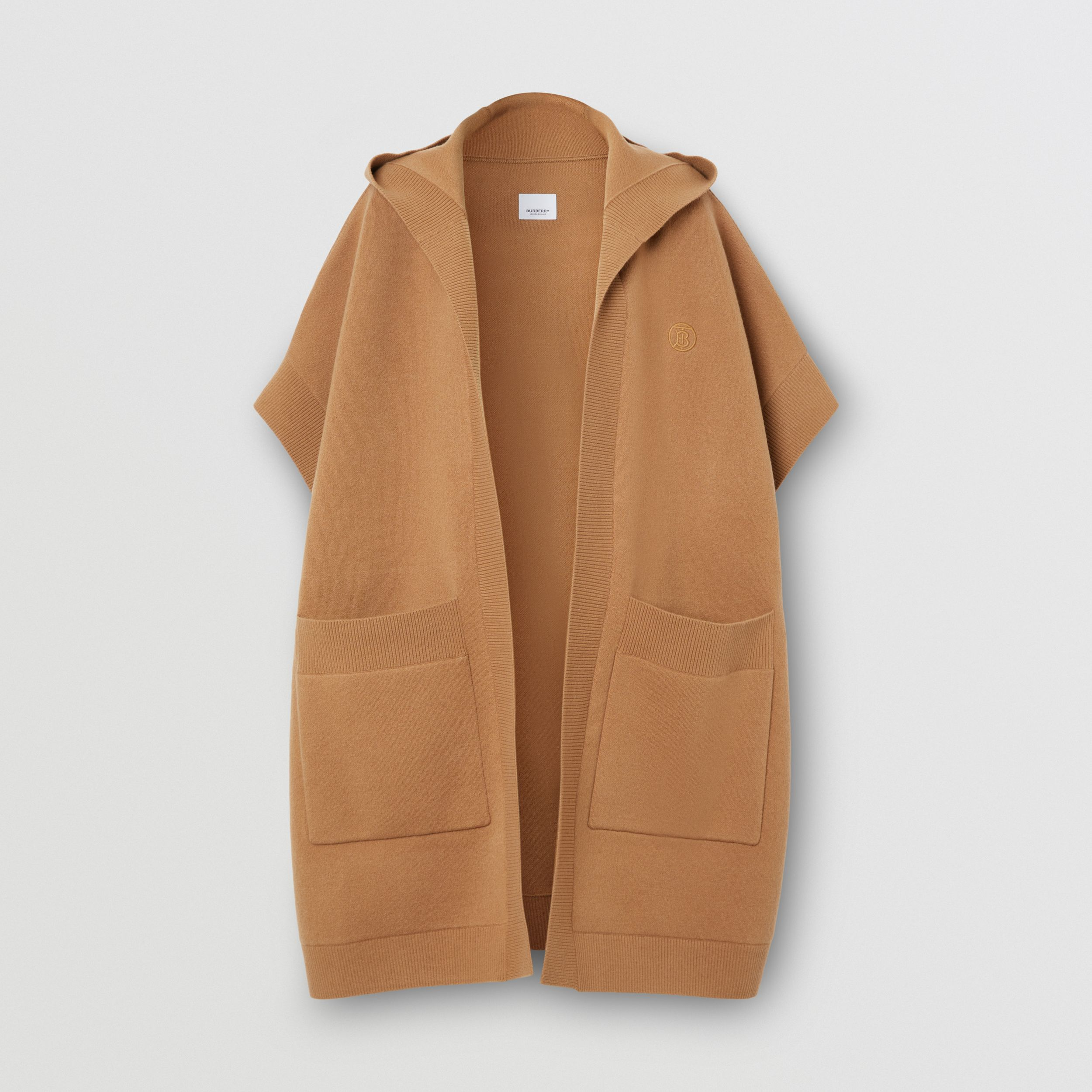 Monogram Motif Cashmere Blend Hooded Cape in Camel - Women | Burberry - 4