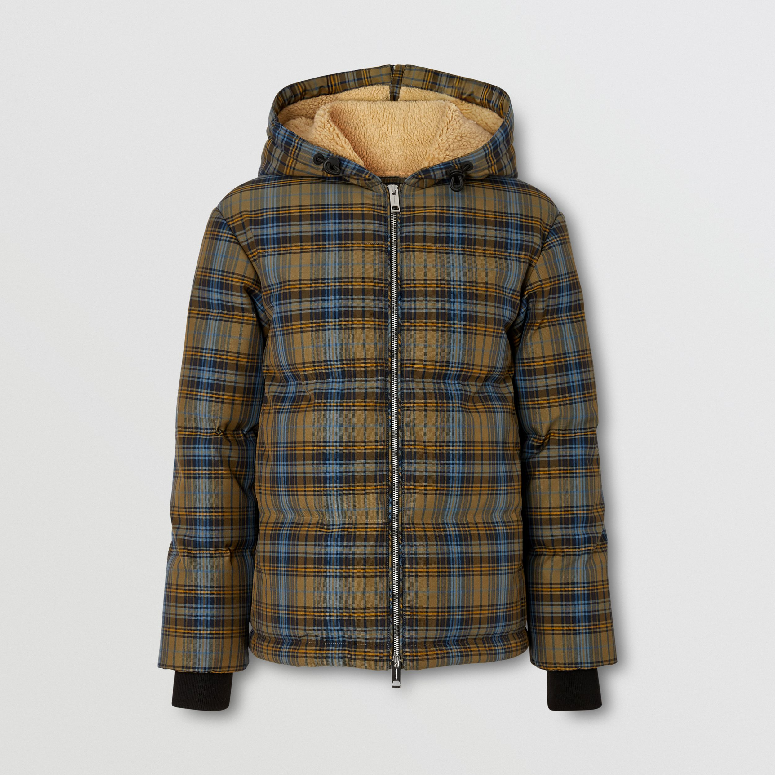 Logo Jacquard Check Hooded Puffer Jacket in Pale Green - Women | Burberry - 4