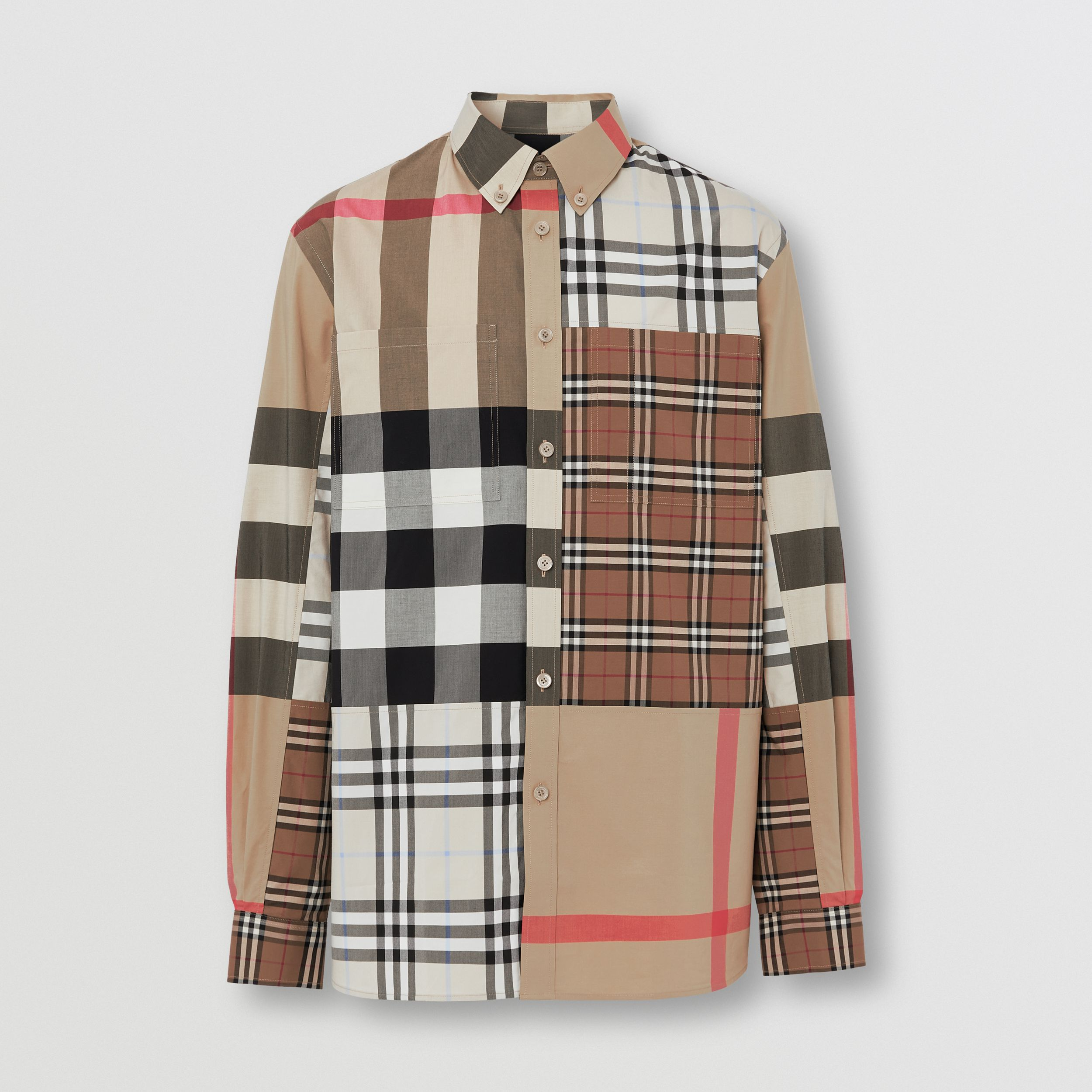 Contrast Check Stretch Cotton Poplin Shirt in Light Almond - Men | Burberry - 4