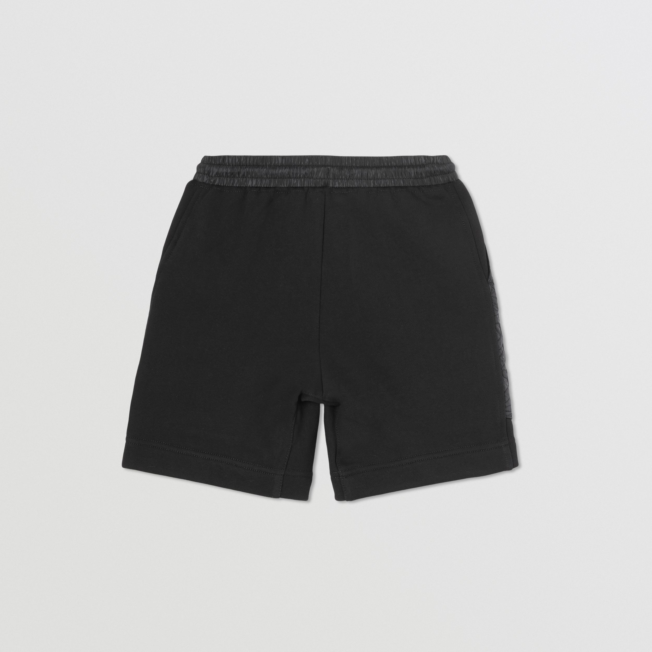 Monogram Quilted Panel Cotton Shorts in Black | Burberry - 4