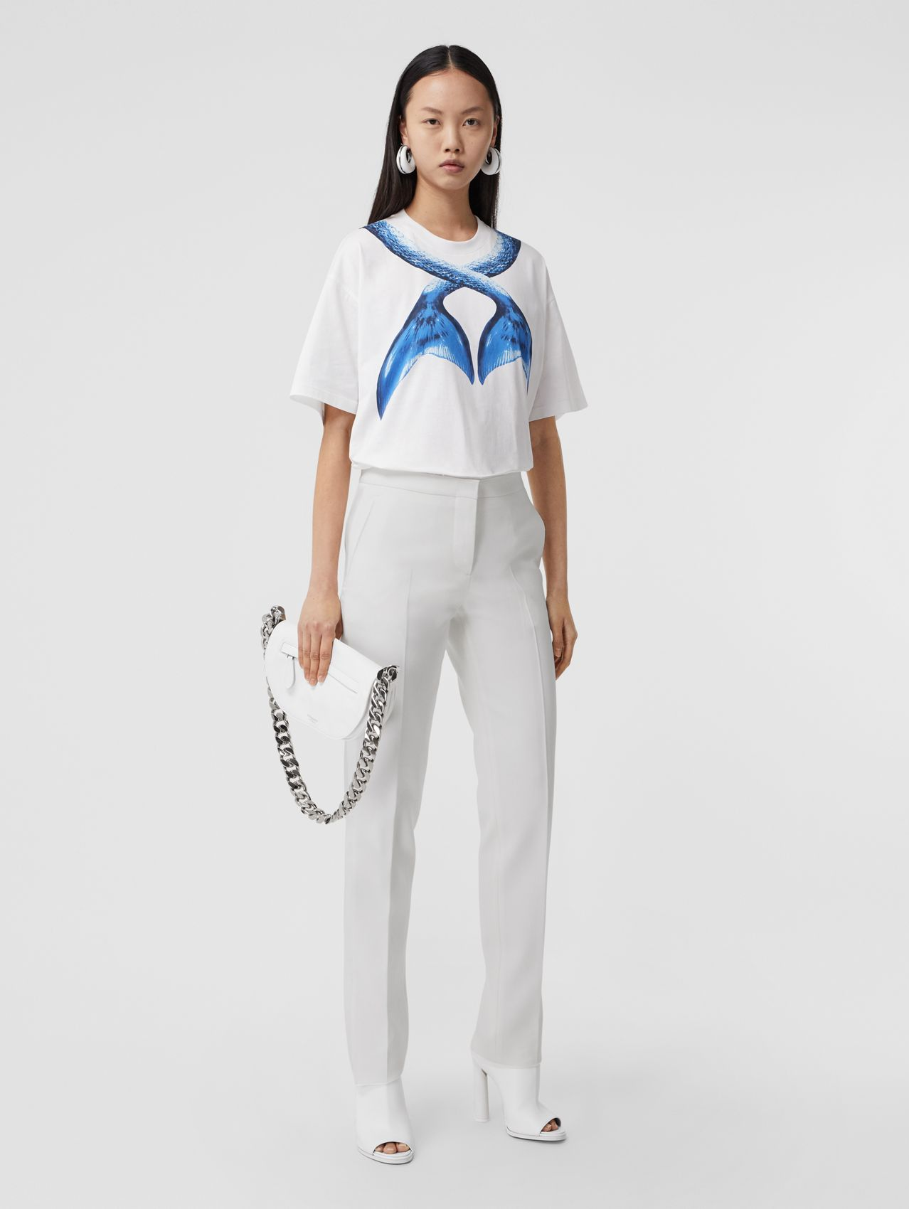 Silk Side Stripe Technical Wool Tailored Trousers in Optic White