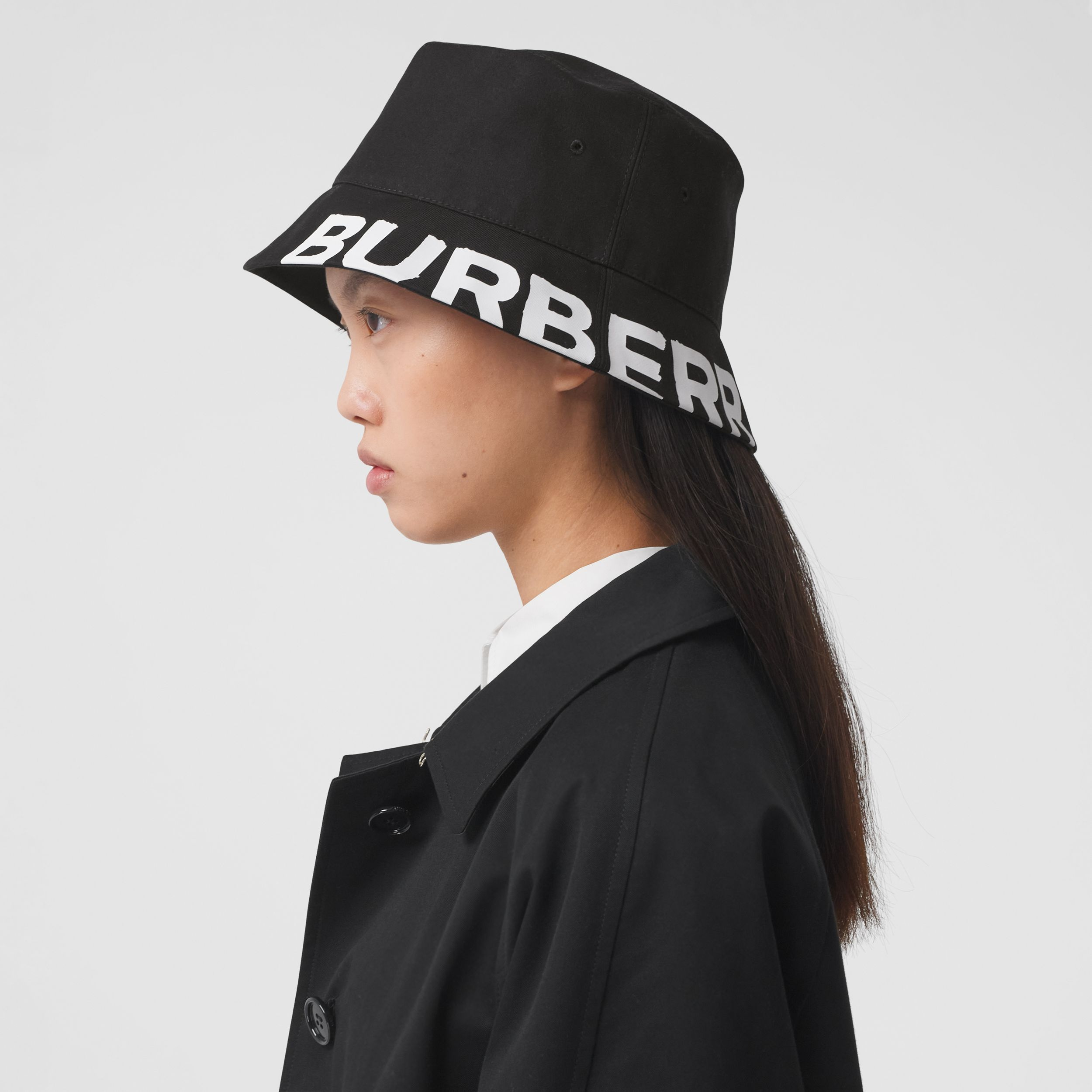 Reversible Logo Print Cotton Gabardine Bucket Hat in Black | Burberry United States - 3