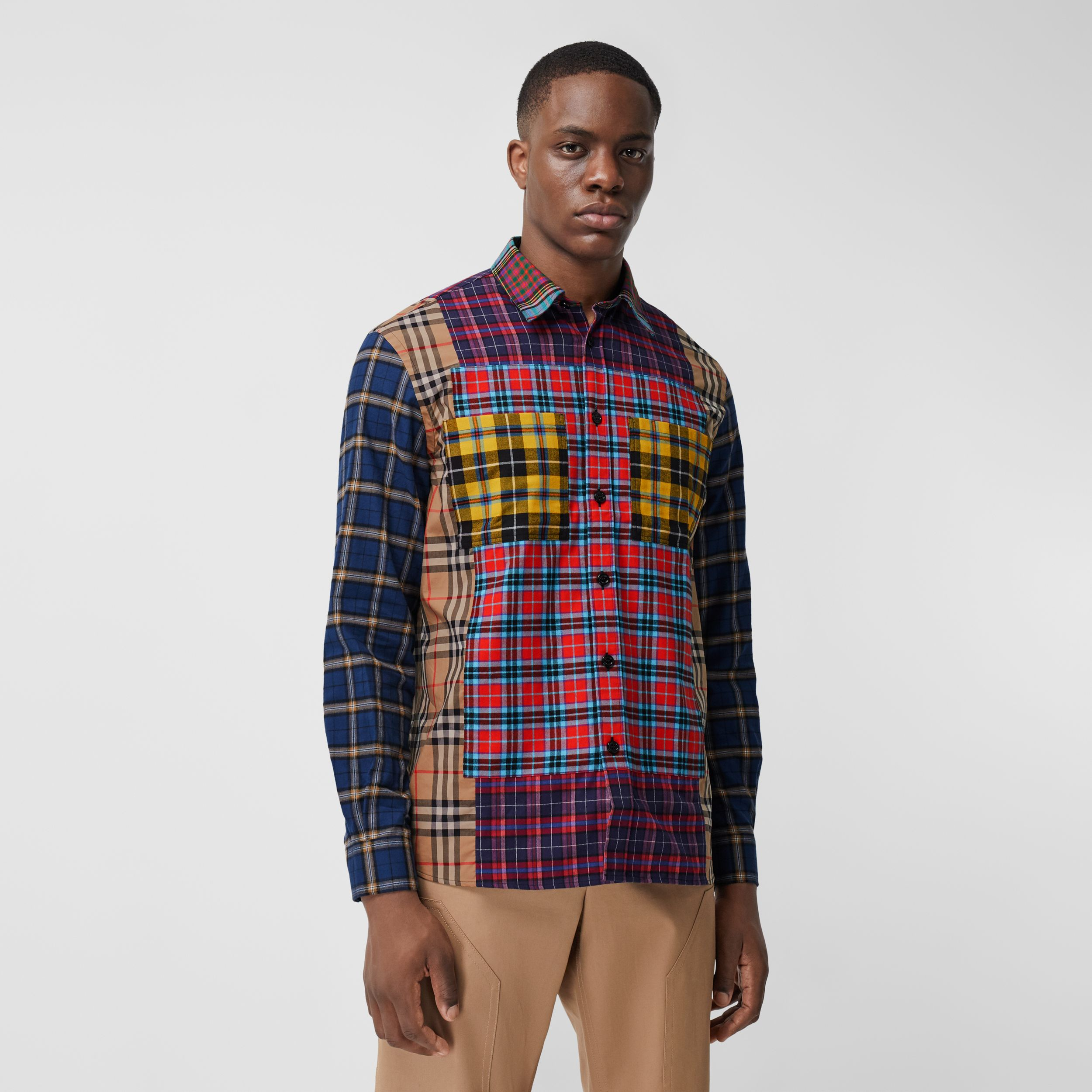 Patchwork Check Cotton Oversized Shirt in Navy - Men | Burberry - 1