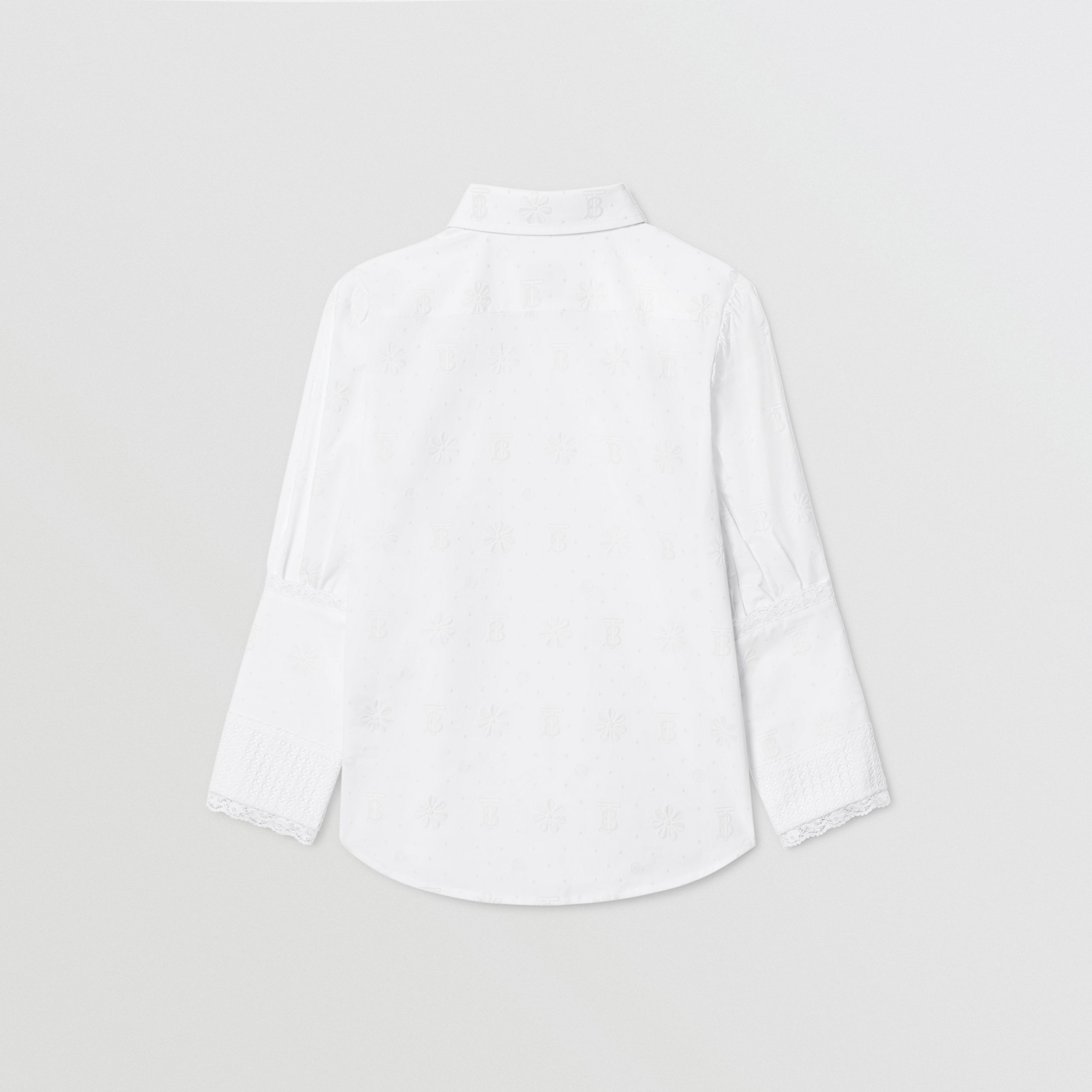 Puff-sleeve Fil Coupé Cotton Blend Shirt in White | Burberry - 4