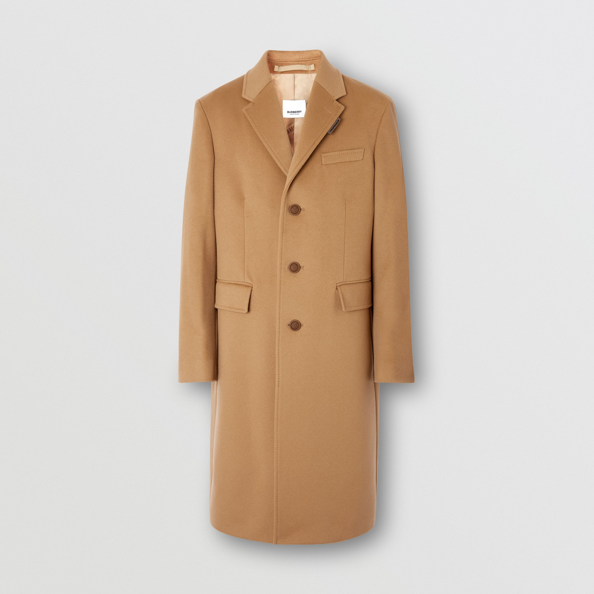Button Detail Wool Cashmere Tailored Coat in Camel - Men | Burberry - 4