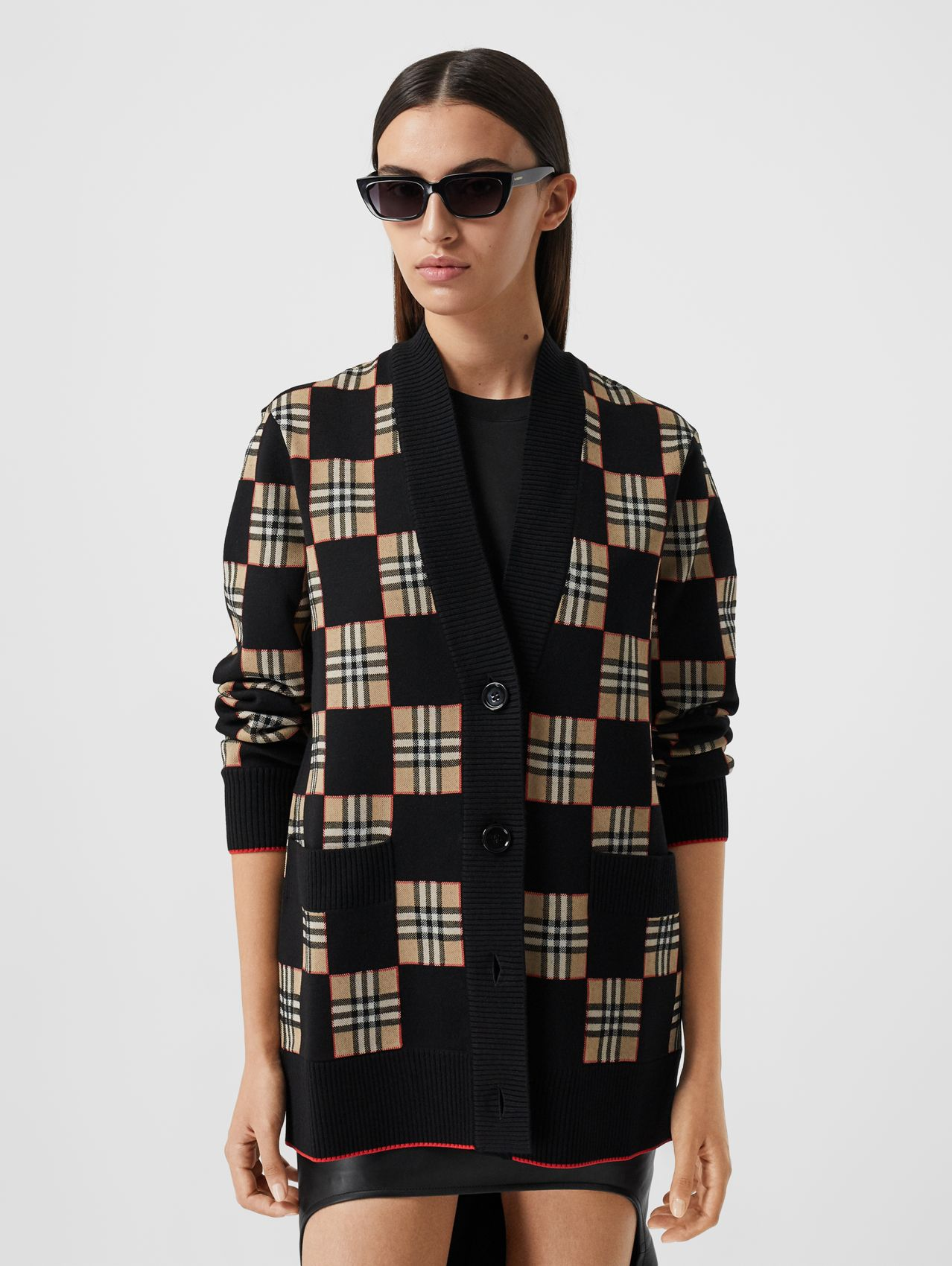 Chequer Merino Wool Blend Oversized Cardigan in Black/archive Beige