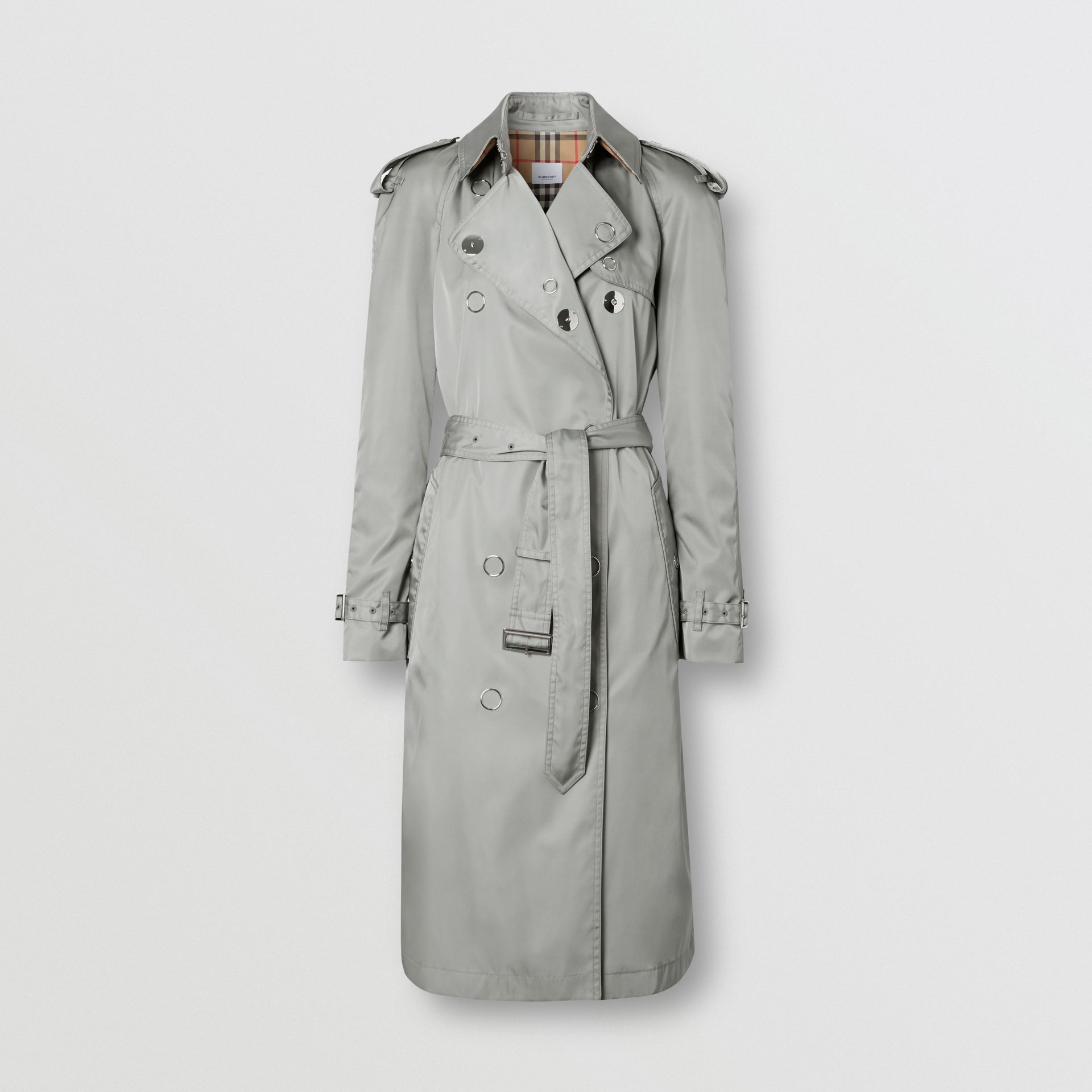 Press-stud Detail ECONYL® Trench Coat in Cloud Grey | Burberry - gallery image 3