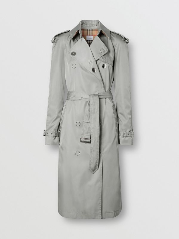Press-stud Detail ECONYL® Trench Coat in Cloud Grey - Women | Burberry - cell image 3