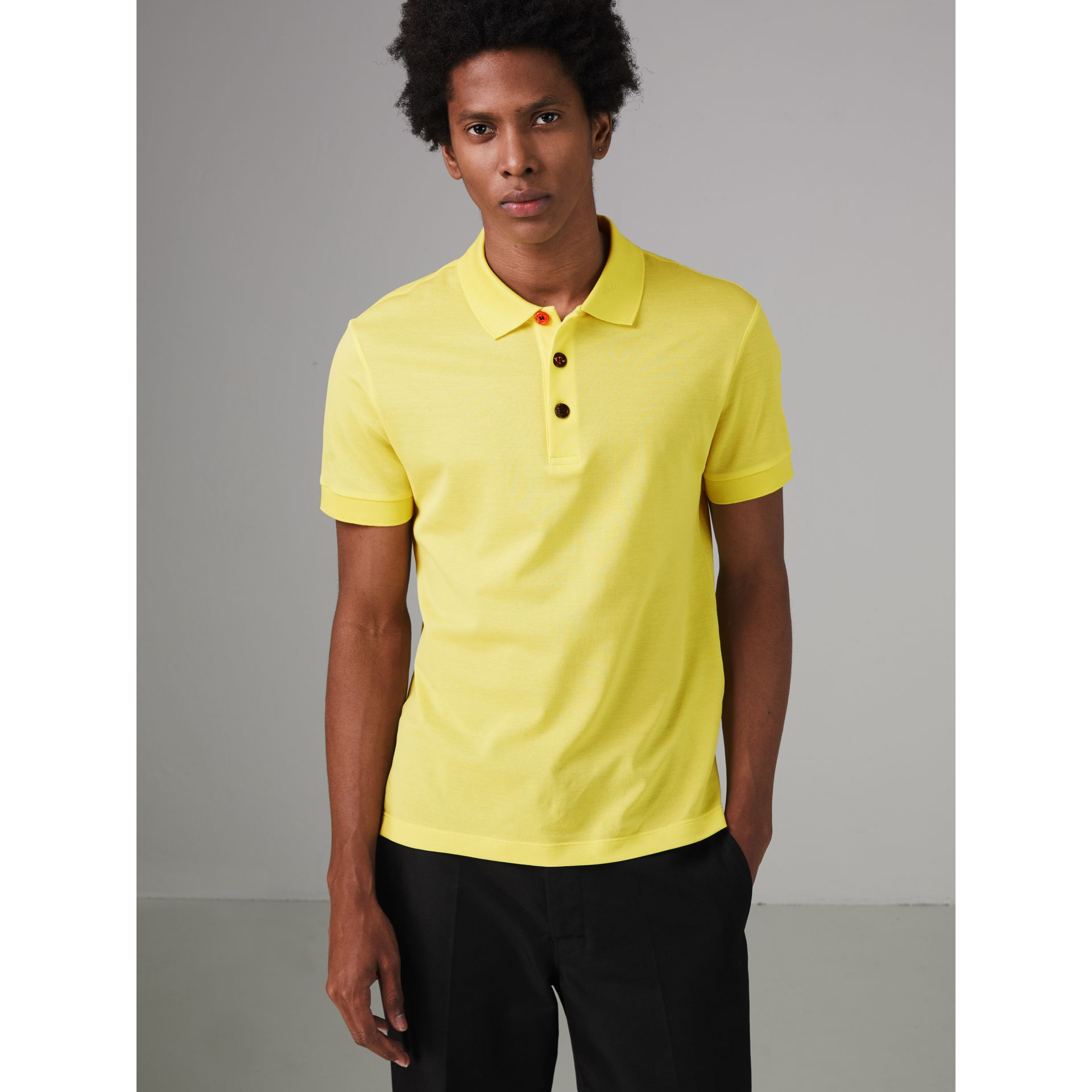 Painted Button Cotton Piqué Polo Shirt in Vibrant Lemon - Men | Burberry United Kingdom - gallery image 4