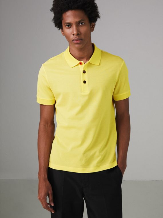 Painted Button Cotton Piqué Polo Shirt in Vibrant Lemon