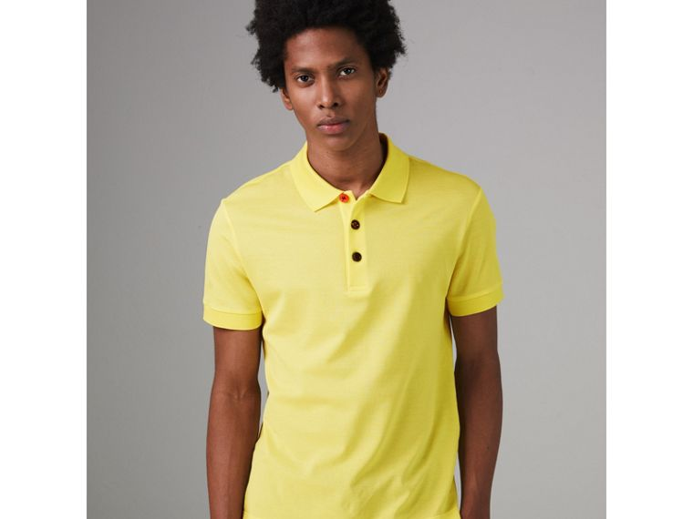 Painted Button Cotton Piqué Polo Shirt in Vibrant Lemon - Men | Burberry United Kingdom - cell image 4