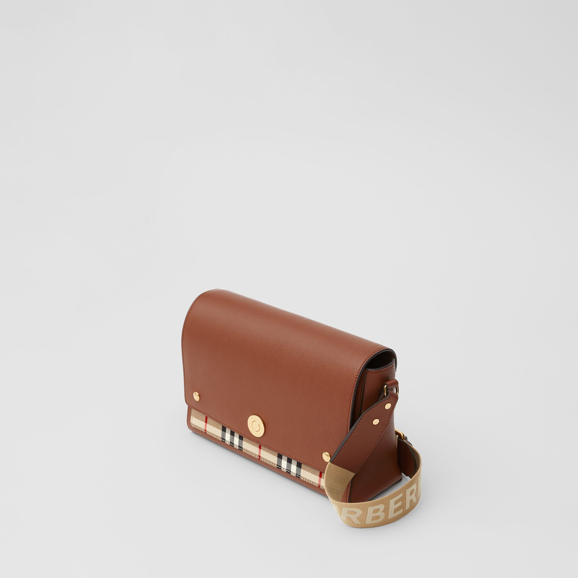 Leather and Vintage Check Note Crossbody Bag in Tan - Women | Burberry United States - gallery image 3