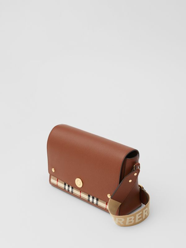 Leather and Vintage Check Note Crossbody Bag in Tan - Women | Burberry United States - cell image 3