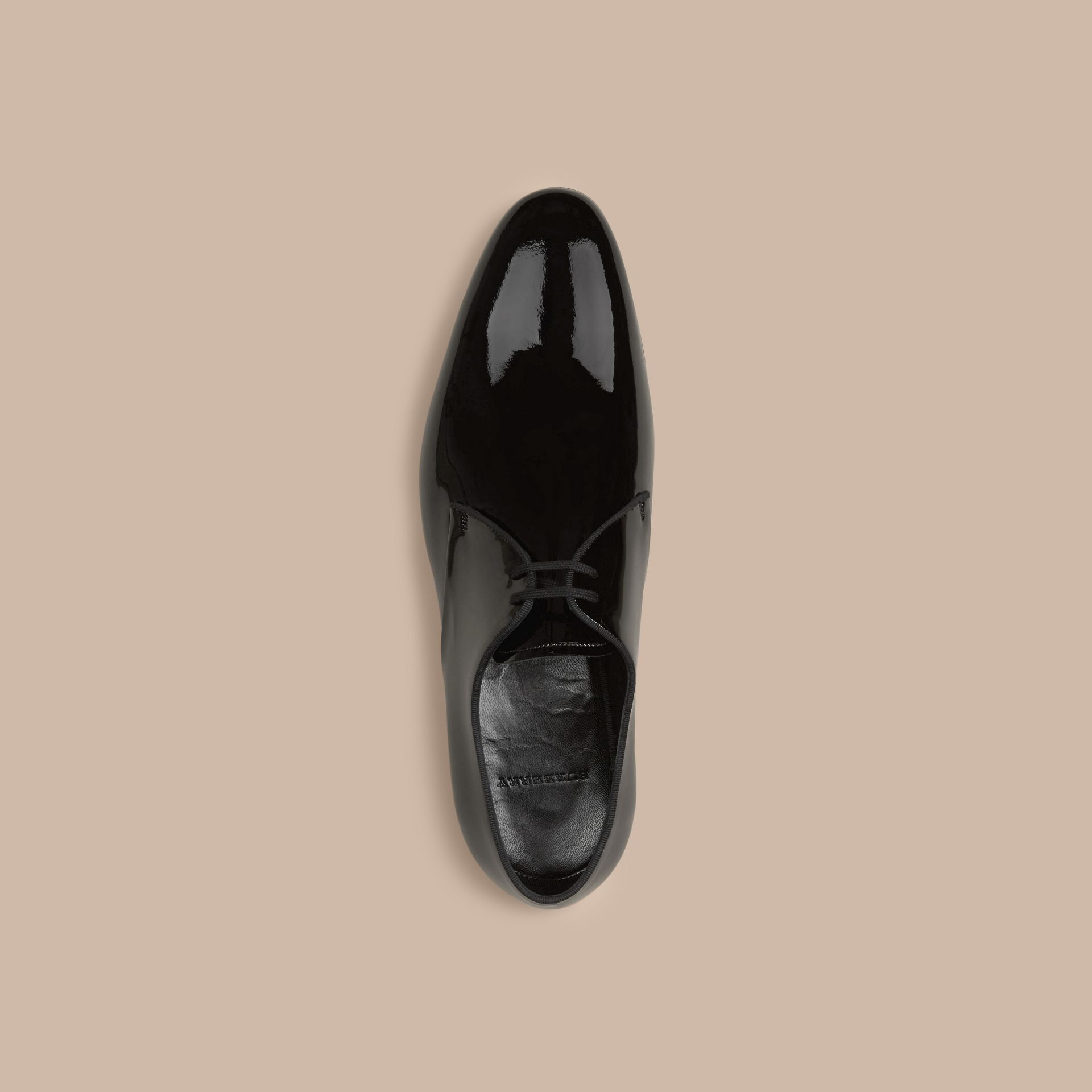Polished Leather Lace-up Shoes in Black - Men | Burberry - gallery image 3