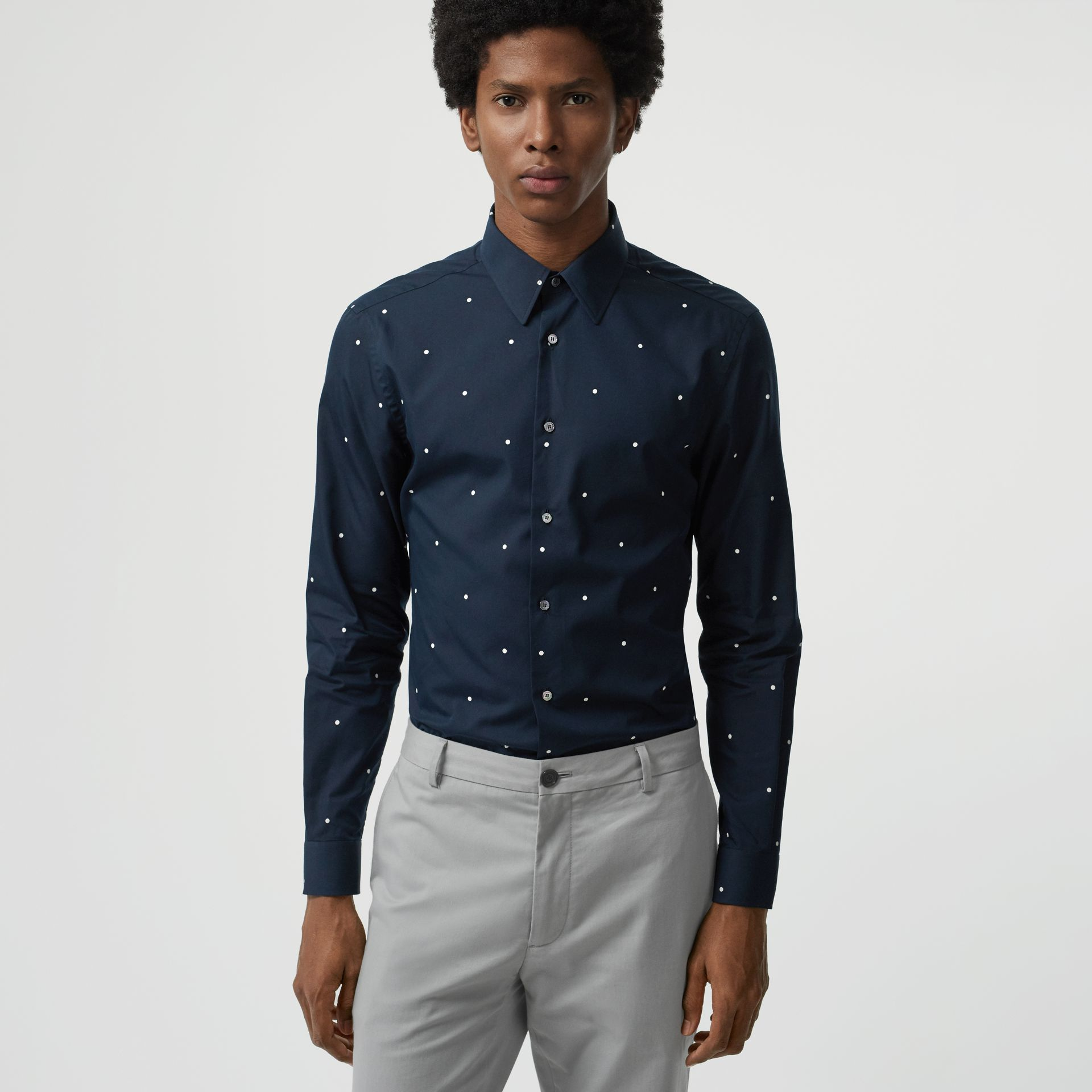 Slim Fit Polka Dot Cotton Poplin Shirt in Navy - Men | Burberry - gallery image 0