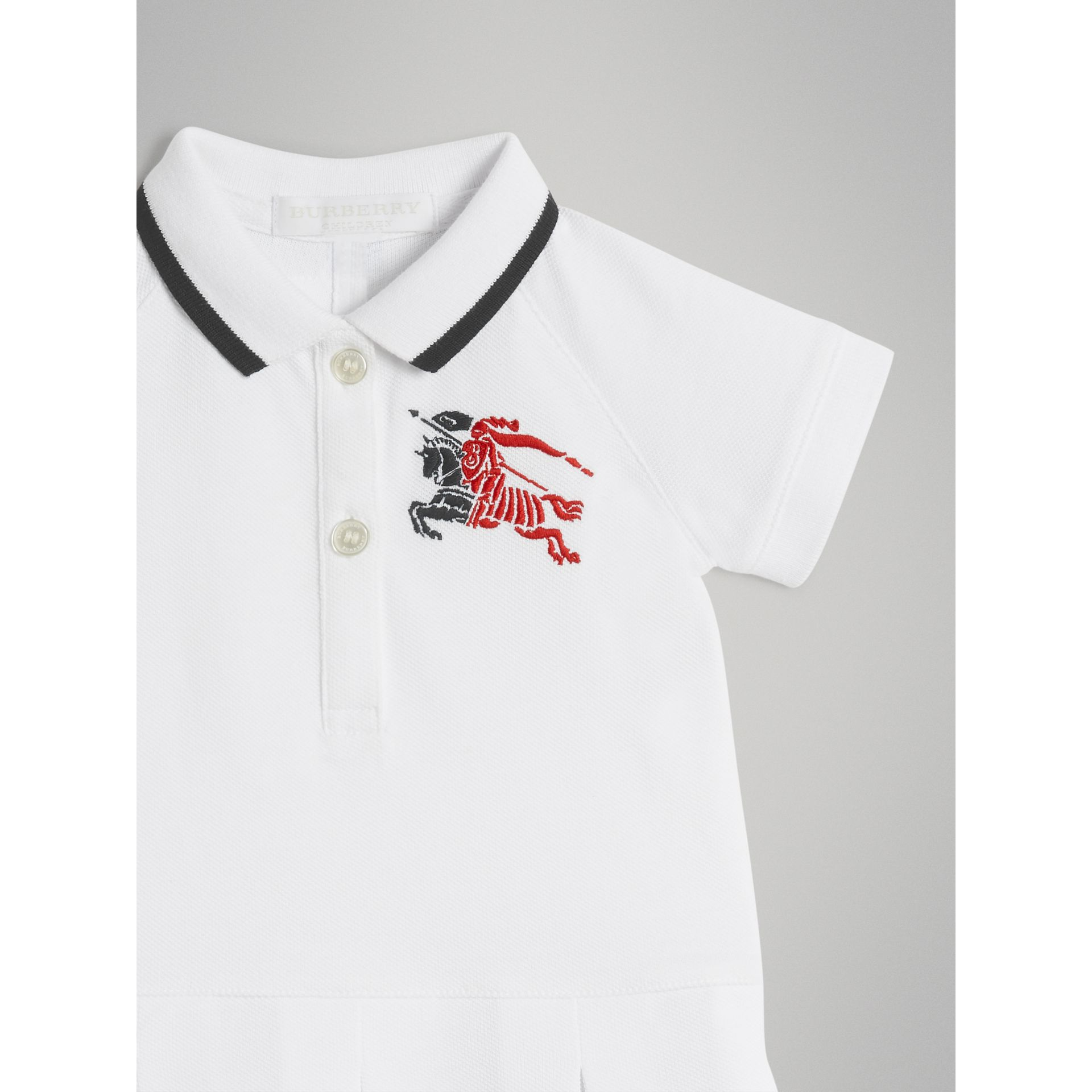 Logo Detail Tipped Cotton Polo Dress in White - Children | Burberry United States - gallery image 4