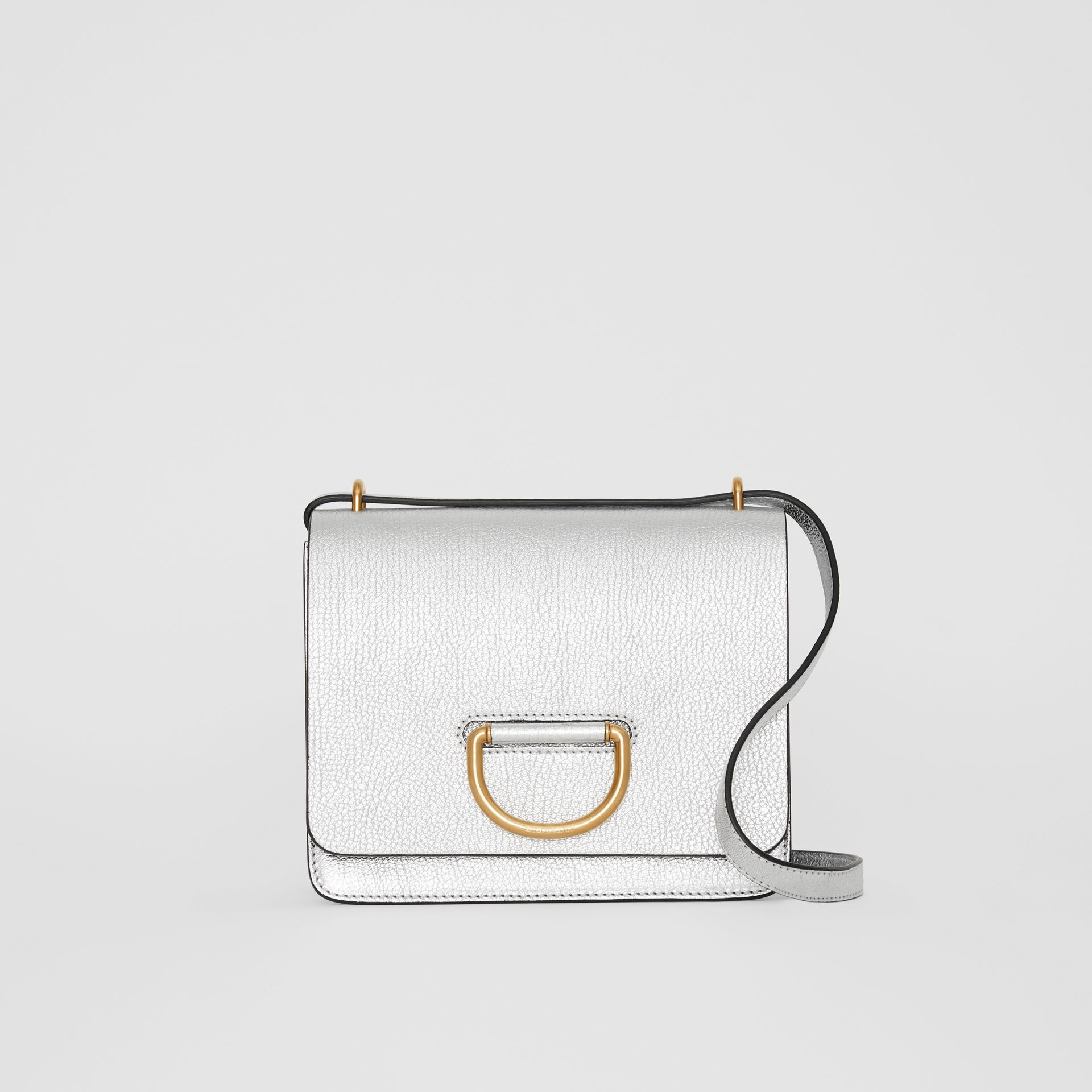 The Small Metallic Leather D-ring Bag in Silver - Women | Burberry - gallery image 0