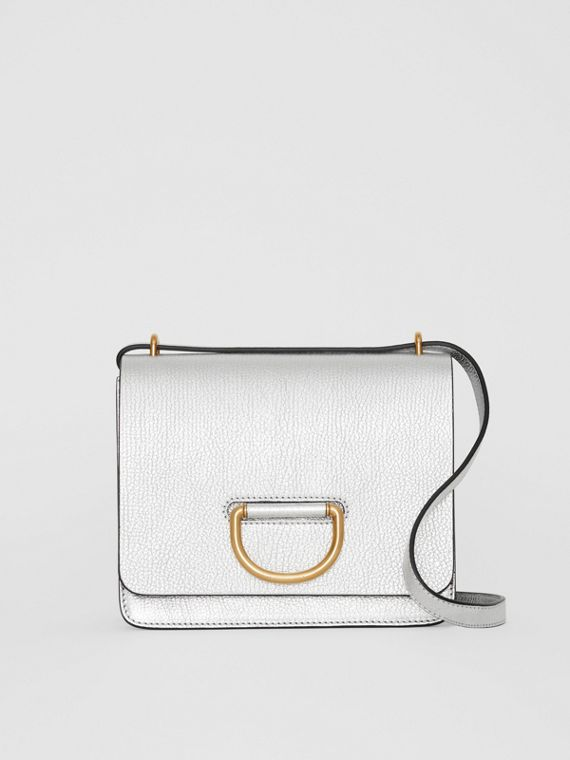 The Small Metallic Leather D-ring Bag in Silver