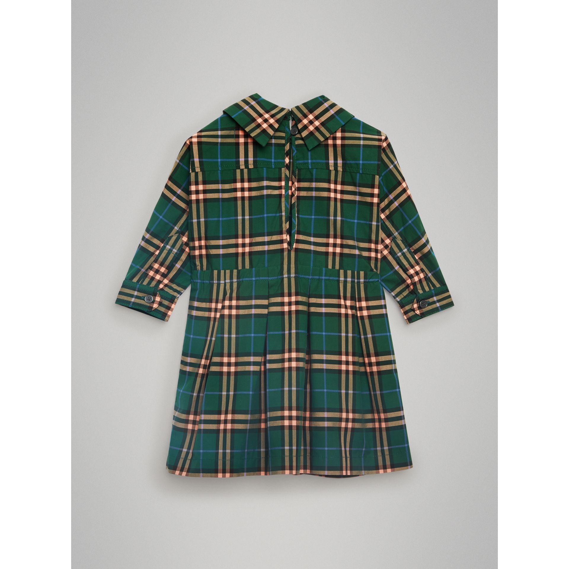 Check Cotton Drawcord Dress in Dark Forest Green - Children | Burberry Australia - gallery image 3