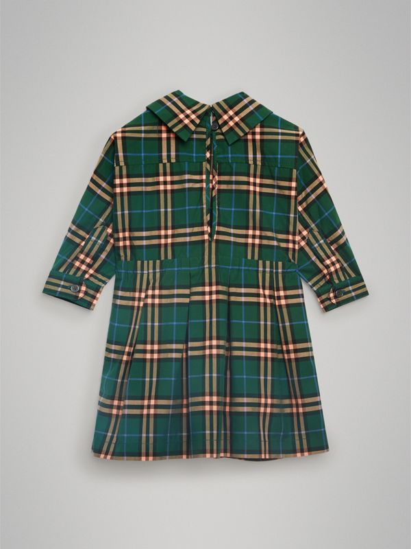 Check Cotton Drawcord Dress in Dark Forest Green - Children | Burberry Australia - cell image 3