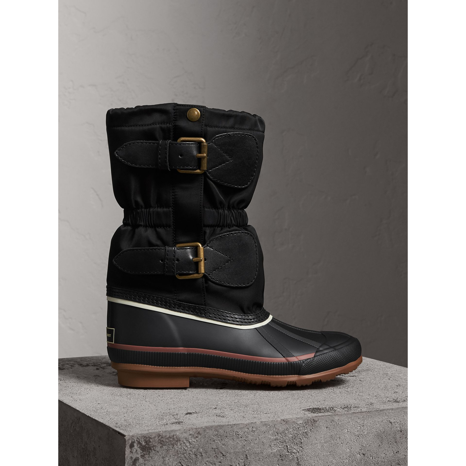 Rubber Leather Blend Duck Boots in Black | Burberry - gallery image 0