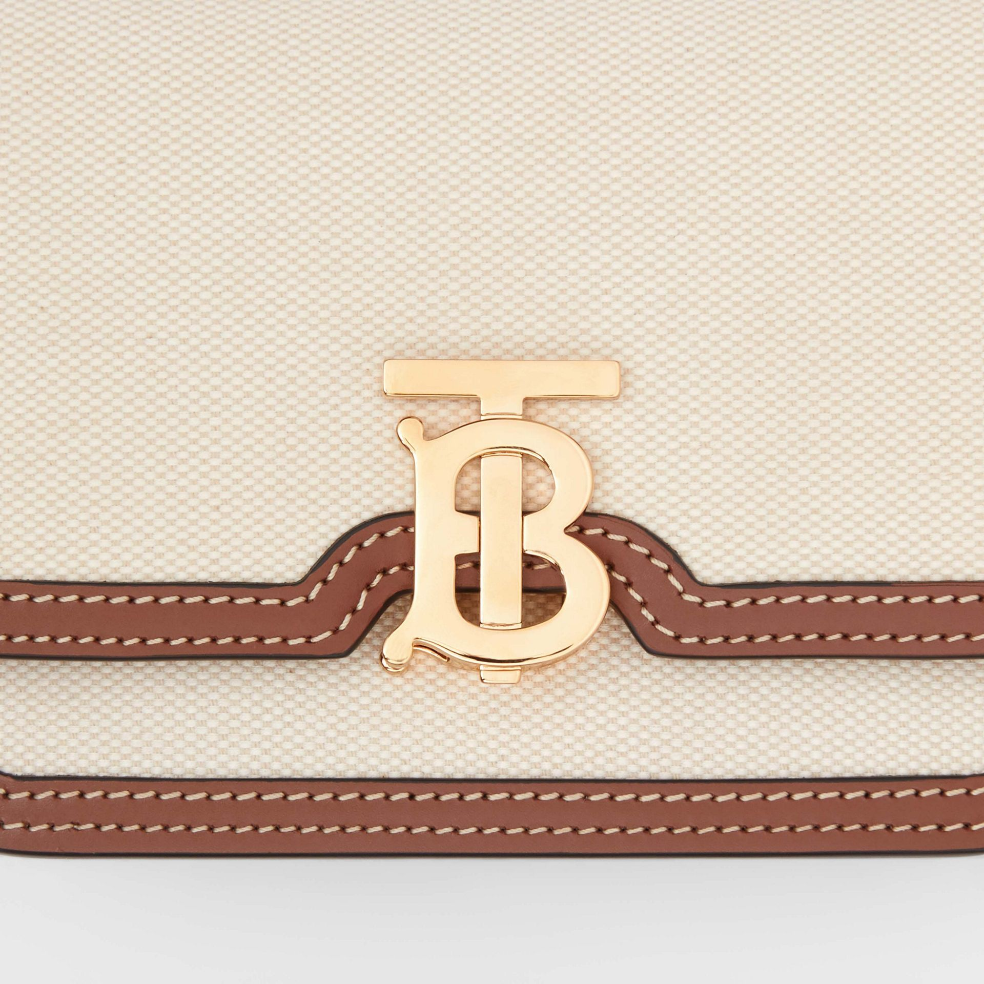 Mini Two-tone Canvas and Leather TB Bag in Natural/malt Brown - Women | Burberry Hong Kong S.A.R - gallery image 1