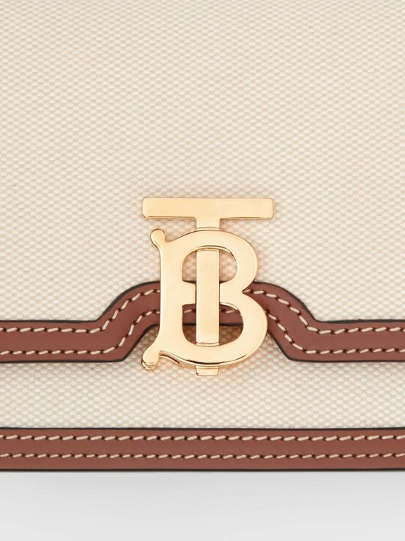 Mini Two-tone Canvas and Leather TB Bag in Natural/malt Brown - Women | Burberry Hong Kong S.A.R - cell image 1