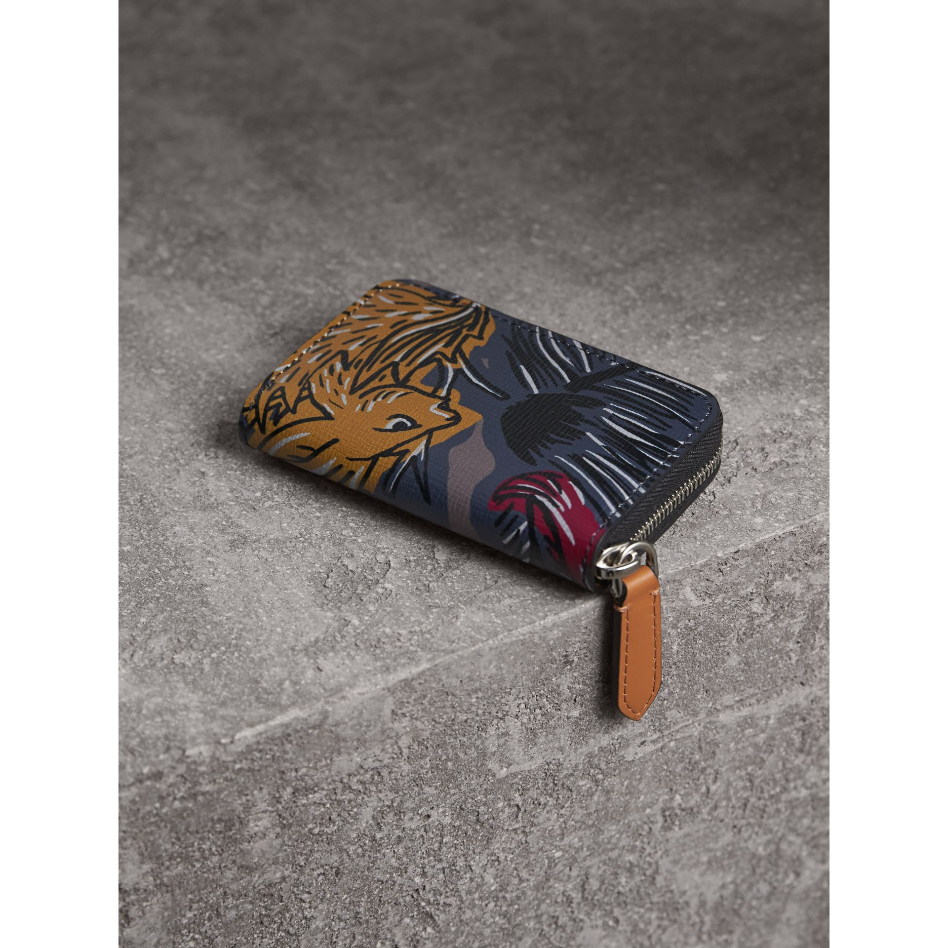 Beasts Print Leather Ziparound Coin Case in Navy Grey - Men | Burberry - gallery image 3