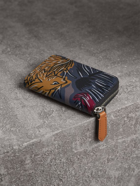 Beasts Print Leather Ziparound Coin Case in Navy Grey - Men | Burberry - cell image 2