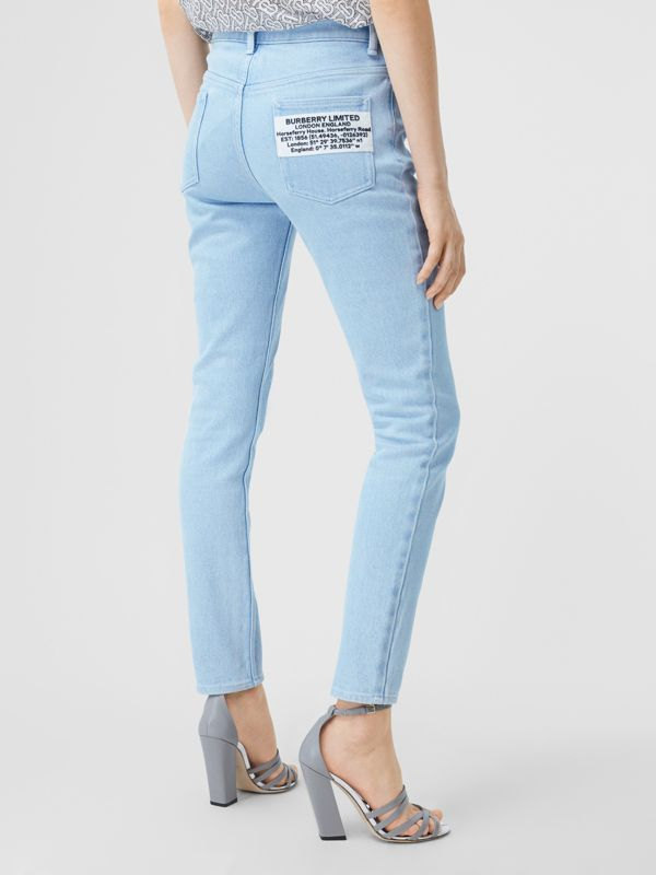 Skinny Fit Bleached Denim Jeans in Light Indigo - Women | Burberry - cell image 2