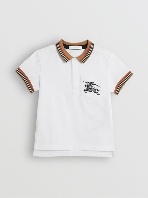 Icon Stripe Detail Cotton Polo Shirt in White