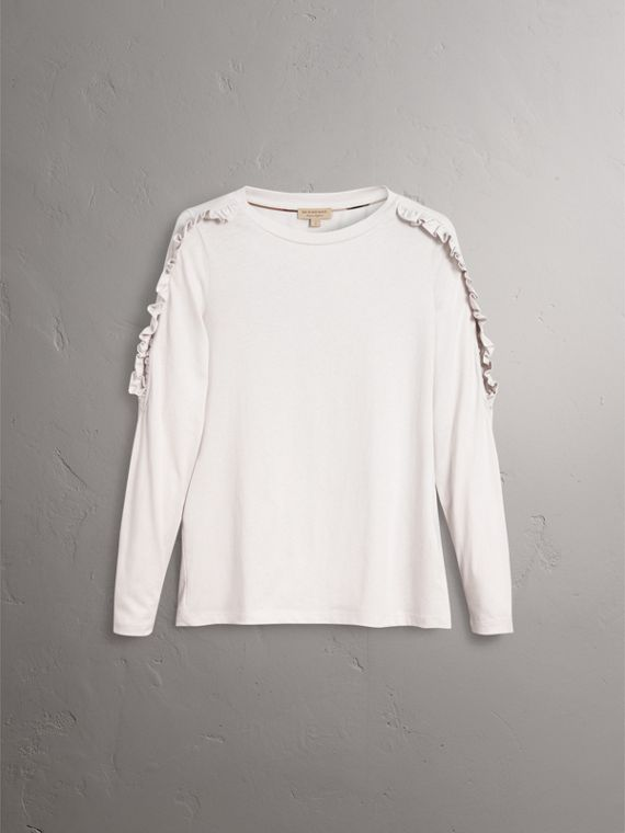 Ruffle Detail Cotton Top in Winter White - Women | Burberry - cell image 3