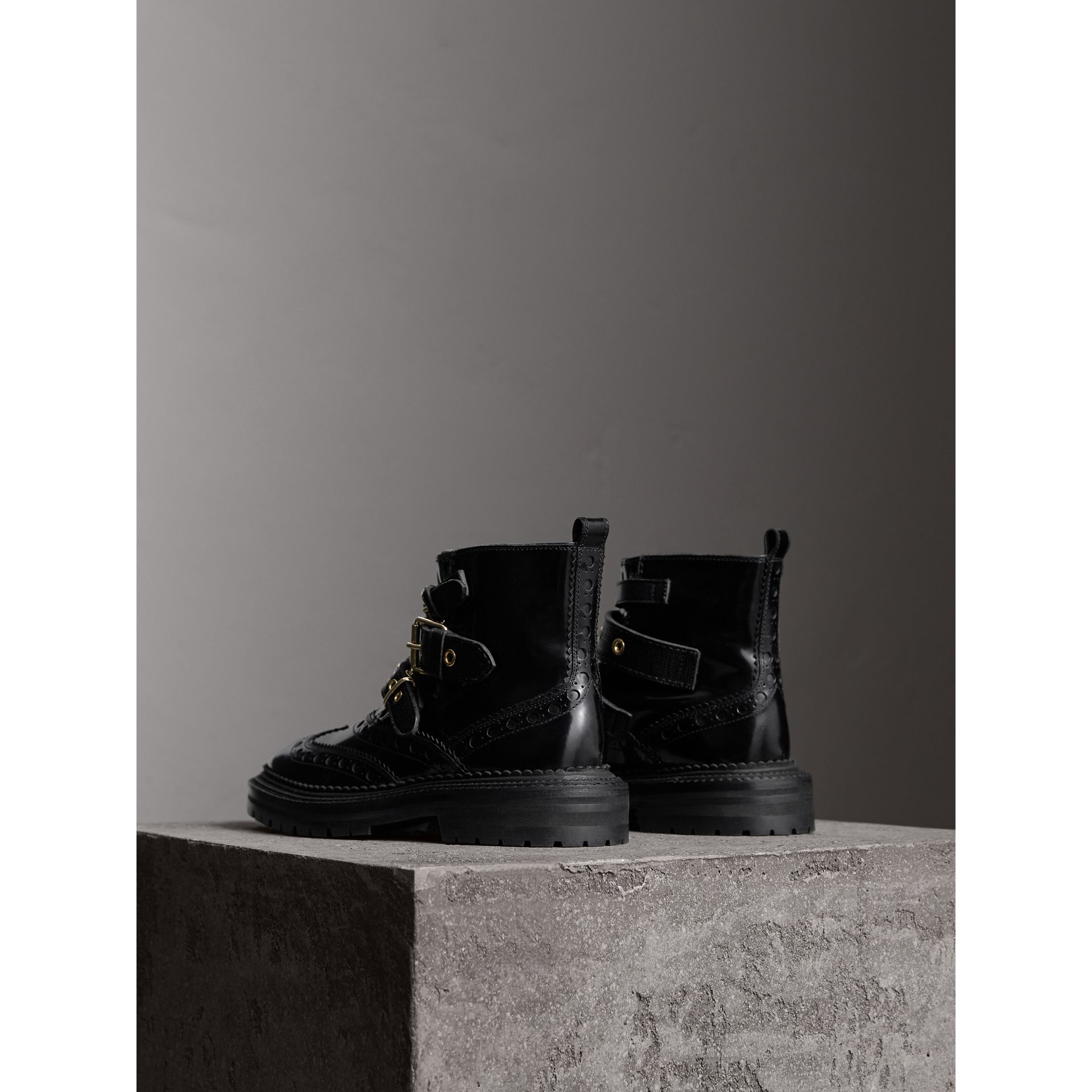 Buckled Leather Brogue Ankle Boots in Black - Women | Burberry Australia - gallery image 4