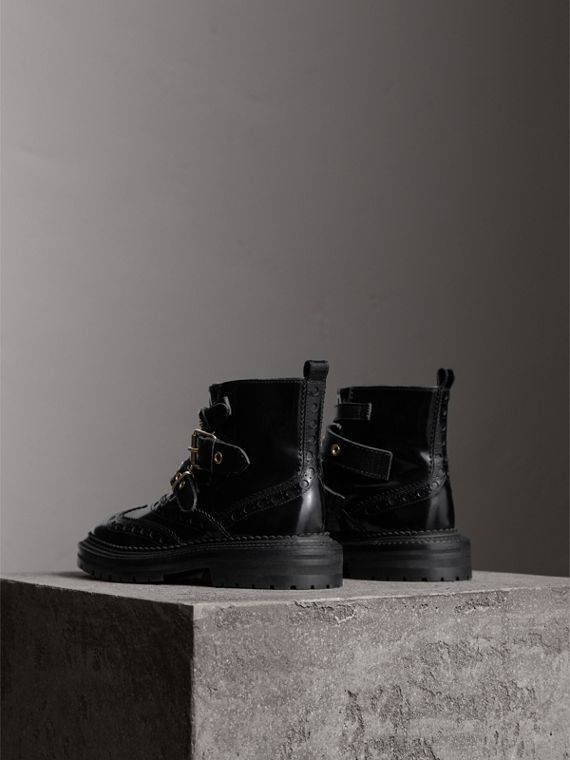 Buckled Leather Brogue Ankle Boots in Black - Women | Burberry Australia - cell image 3
