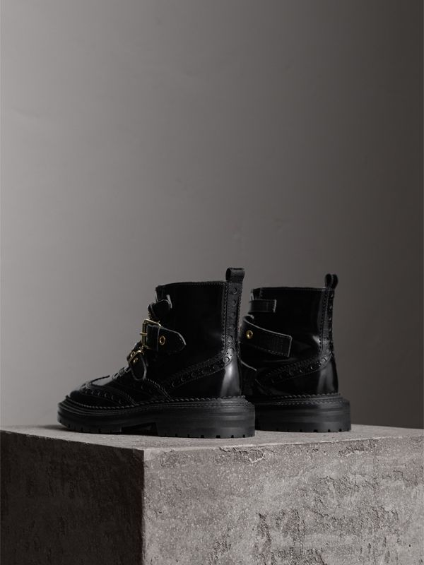 Buckled Leather Brogue Ankle Boots in Black | Burberry United States - cell image 3