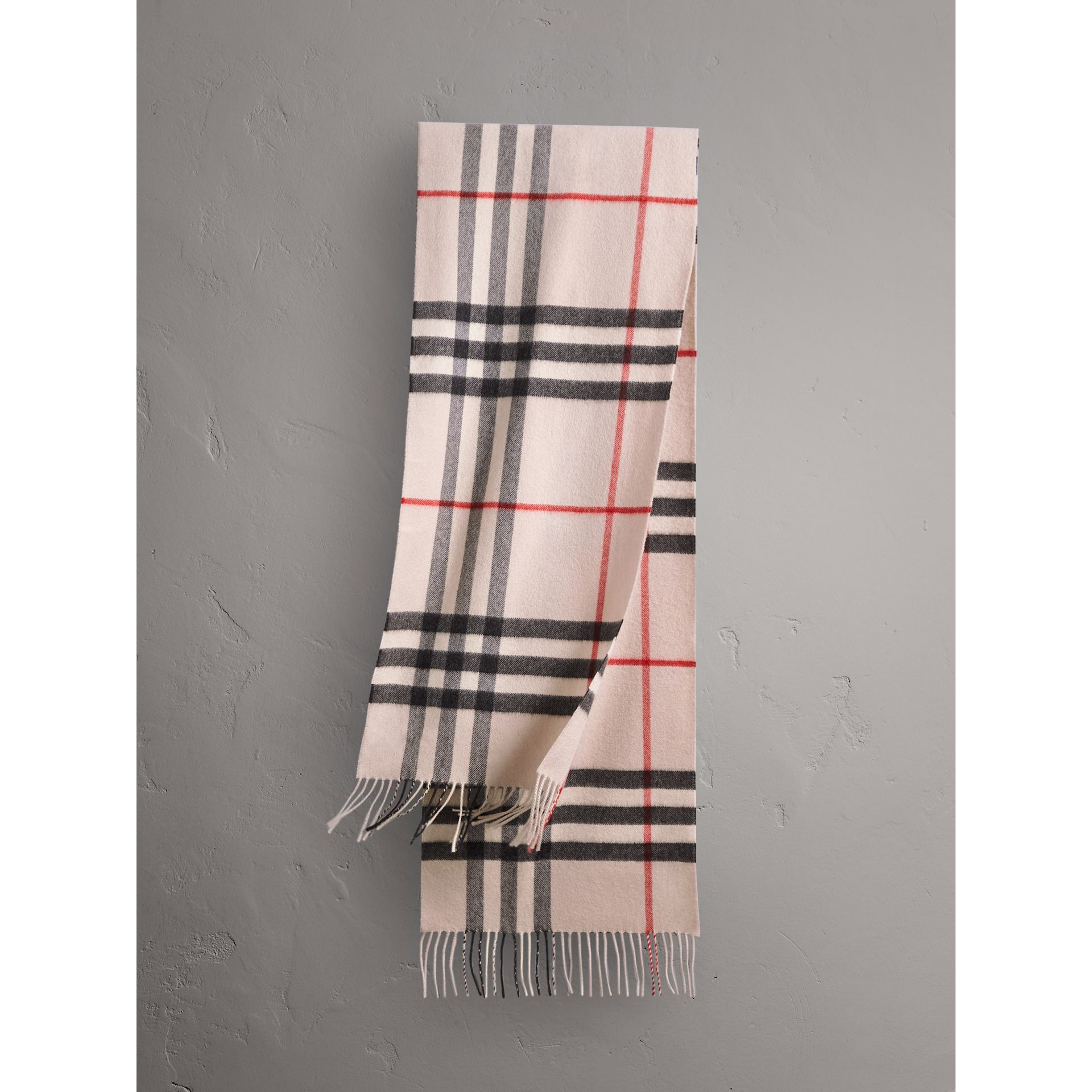 The Classic Check Cashmere Scarf in Stone | Burberry United Kingdom - gallery image 1
