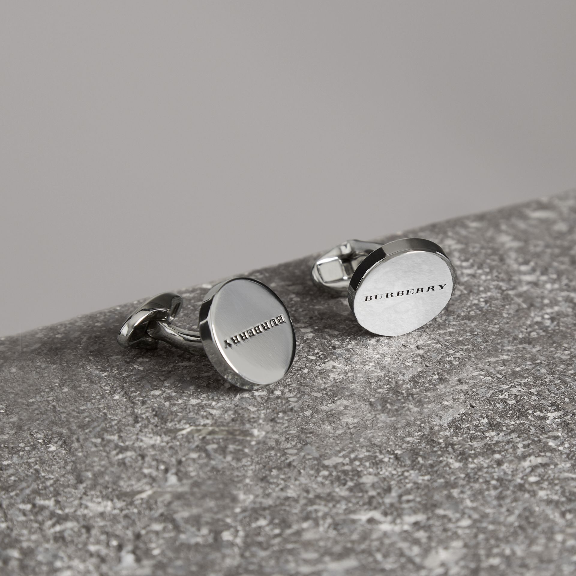 Engraved Bronze Oval Cufflinks in Silver - Men | Burberry - gallery image 0