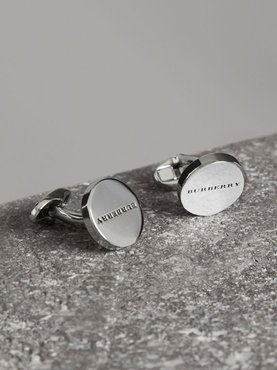 Engraved Bronze Oval Cufflinks in Silver