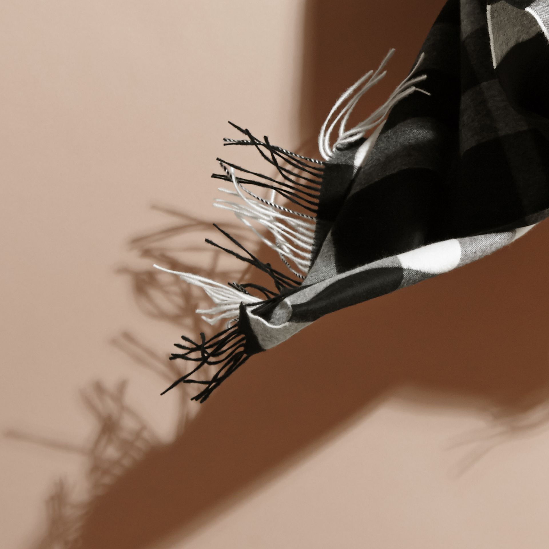 Oversize Check Cashmere Scarf in Black | Burberry - gallery image 5