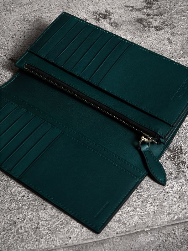 Haymarket Check and Leather Continental Wallet in Bright Blue - Men | Burberry - cell image 3