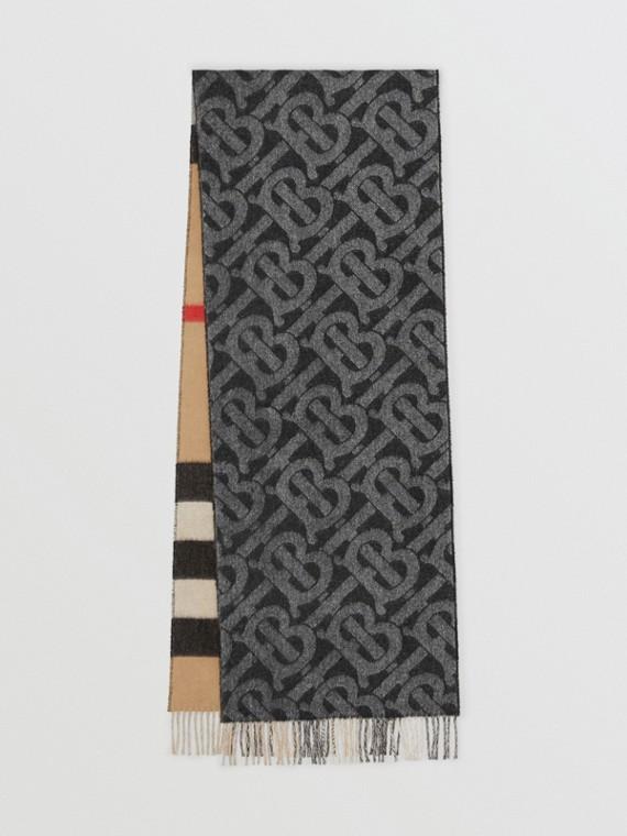 Cachecol dupla face de cashmere com estampa xadrez e monograma (Preto / Branco)