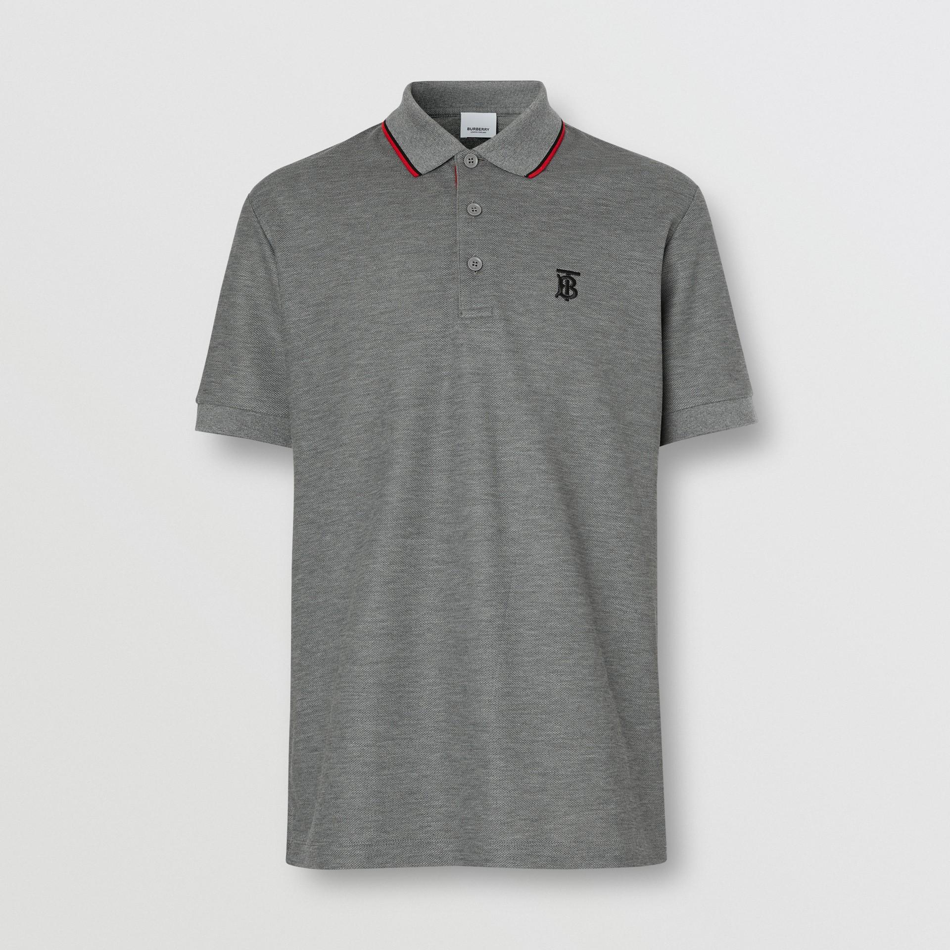 Monogram Motif Cotton Piqué Polo Shirt in Mid Grey Melange - Men | Burberry - gallery image 3