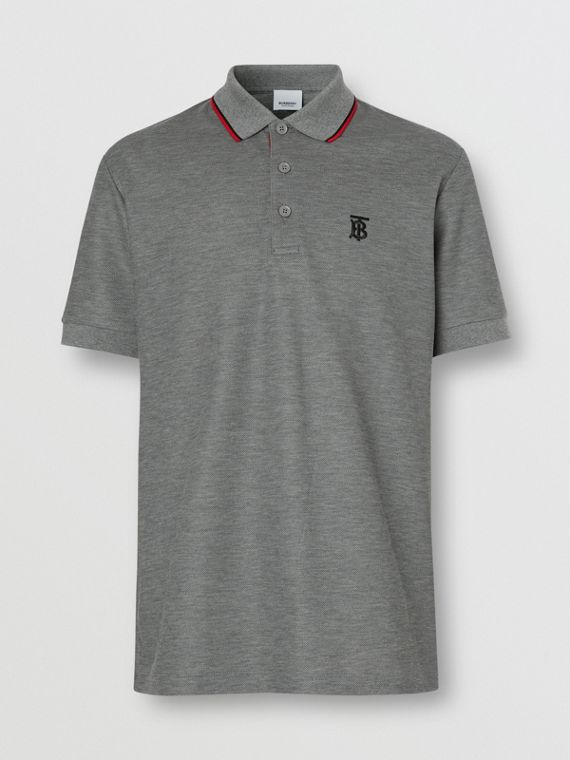 Monogram Motif Cotton Piqué Polo Shirt in Mid Grey Melange