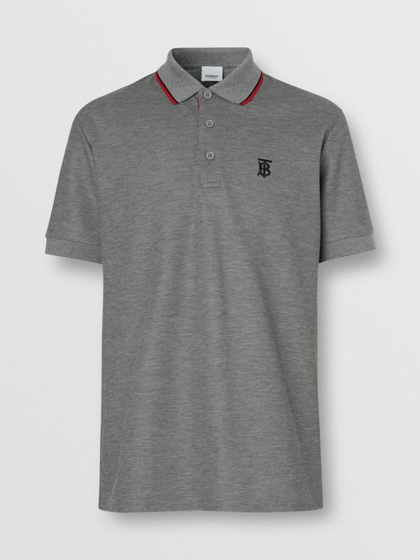 Monogram Motif Cotton Piqué Polo Shirt in Mid Grey Melange - Men | Burberry - cell image 3